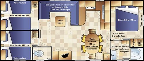 Plan de la location Location Mobil-home 64069 Saint Jean de Monts