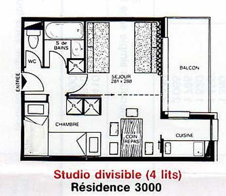 Plan de la location Location Studio 2155 La Plagne