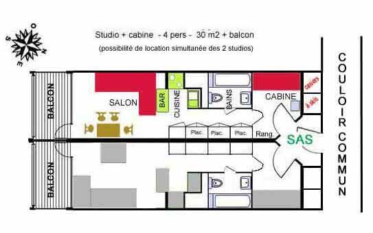 Plan de la location Location Studio 238 Les Arcs