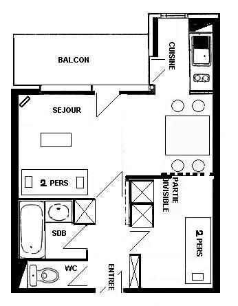 Plan de la location Location Studio 57992 La Plagne