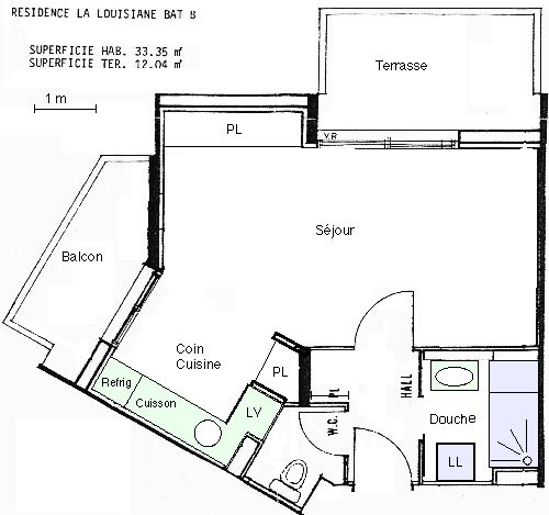Plan de la location Location Studio 92632 Antibes