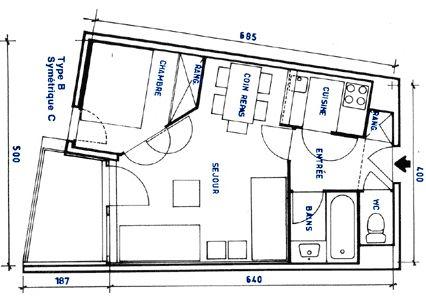 Plan de la location Location Studio 92355 Les Menuires
