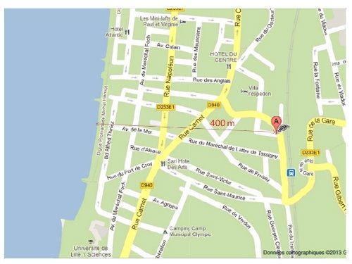 Carte Location Gite 95721 Wimereux