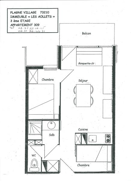 Plan de la location Location Appartement 85275 La Plagne