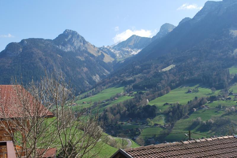 Vue du balcon Location Chalet 72056 La Clusaz