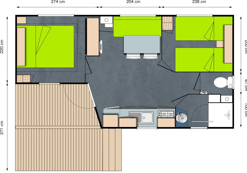 Plan de la location Location Mobil-home 13330 Bayeux