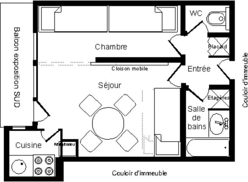 Plan de la location Location Studio 2127 La Plagne