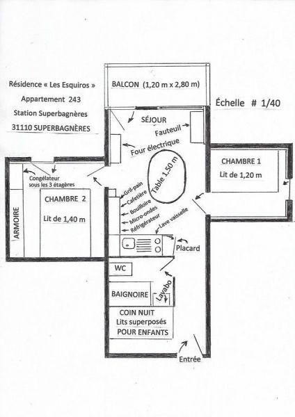 Plan de la location Location Appartement 25789 Luchon Superbagneres