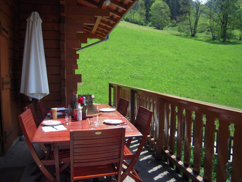 Vue de la terrasse Location Chalet 980 Les Contamines Montjoie