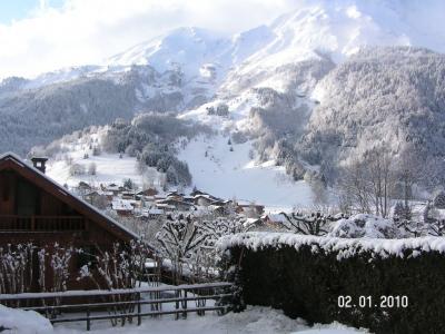Vue de la terrasse Location Studio 73809 Les Contamines Montjoie