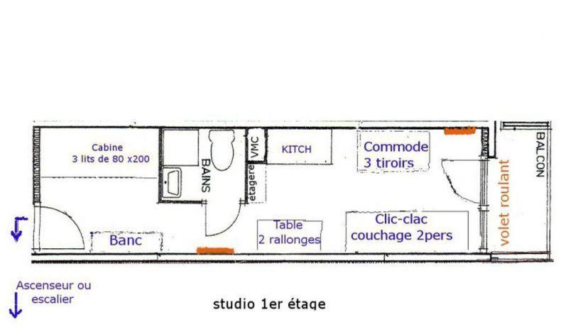Plan de la location Location Studio 116682 Les Menuires