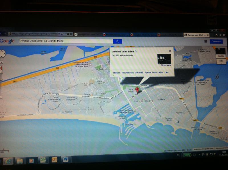 Carte Location Studio 78017 La Grande Motte